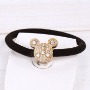 kathy Store INC 1 pc rhinestone Mickey Lovely Rhinestone Hair Rope Ponytail Holder Headband Hair Fashion Accessories