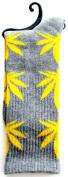 Weed Socks Marijuana Design Grey with Yellow Leaves
