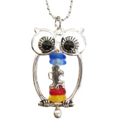 Owl Autism Awareness Charm Ornament with Puzzle Piece Beads Ball Chain Hanger IN GIFT BOX