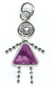 February Sterling Silver Birthstone Girl Charm 317