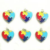 36 Autism Aspergers Awareness Puzzle Piece Heart Jewellery Charms Package of 36