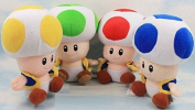17cm 4 Pcs/set Super Mario Mushroom People Plush Anime Doll Stuffed Animals Cute Soft Collection Toy Best Gift for Kids
