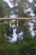Genuine Rare Small Black Sea Glass Sterling Silver Earrings