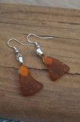 Small Genuine Amber Brown Sea Glass Sterling Silver Earrings
