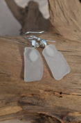 Frosted Sea Glass Sterling Silver Earrings