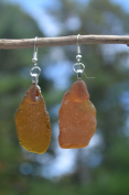 Brown Beach Glass Sterling Silver Earring