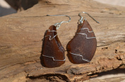 Cocoa Brown Sea Glass Dangling Sterling Silver Earrings