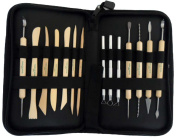15 Piece Sculpture Set With Metal And Wooden Tools In A Neatly Organised Zipper Case