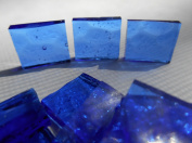 FortySevenGems 100 Pieces Stained Glass Mosaic Tiles 1.3cm Light Blue Glass Textured