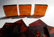 FortySevenGems 100 Pieces Stained Glass Mosaic Tiles 1.3cm Brown Cathedral Glass Textured