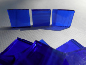 FortySevenGems 100 Pieces Stained Glass Mosaic Tiles 1.3cm Sapphire Blue Glass