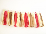16 X Nude colour Tissue Paper Tassels for Party Wedding Gold Garland Bunting Pom Pom
