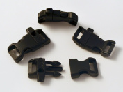 "25 CURVED Whistle Buckles 1/2"" (13mm), Black, Great for Paracord Bracelets. Emergency."