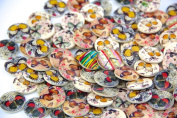 Pack of 50PCS Butterfly Buttons Colourful of Various Plain Round DIY 2 Holes Wooden Buttons for Sewing and Crafting