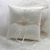 Wed2BB Cream White Coloured Graceful Wedding Ring Pillow With Handmade Embroidery,21cm Square