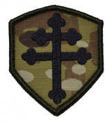 Cross of Lorraine Crusader's Cross 3x2.5 Shield Military Patch / Morale Patch - Multicam