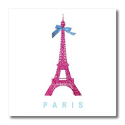 3dRose ht_112907_3 Hot Pink Eiffel Tower from Paris with Girly Blue Ribbon Bow-Iron on Heat Transfer for White Material, 25cm by 25cm