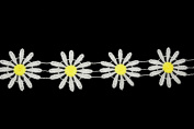 Altotux 5.1cm off white Petal Yellow Centre Daisy Rayon Cuttable Venice Lace Trim