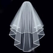 DDU(TM) 1Pcs White- 2 Layer Ribbon Edge Cathedral Elbow Bride Wedding Veil Romantic Mantilla With Comb
