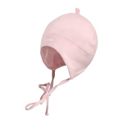 maximo Baby-Girls Ear Flaps Plus Strings Hat, Light Pink, Newborn