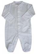 Kissy Kissy Baby Signature Footie-White with Pink-Newborn Colour