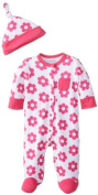 Offspring - Baby Apparel Baby-Girls Newborn Magenta Daisy Footie with Hat, White/Pink, 9 Months Colour