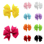 JTC 10pcs Mix Colour Handmade Kids Girl Bowknot Grosgrain Ribbon Headwear Hair Clips 7.6cm