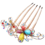eFuture(TM) Colourful Retro Noble Elegant Rhinestone Butterfly Insert Hair Clip Comb +eFuture's nice Keyring