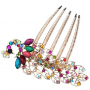 eFuture(TM) Beautiful Elegant Rhinestone Peacock Insert Hair Clip Comb Hair Accessories (Colourful) +eFuture's nice Keyring