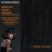 American Dream Yaki Straight Original American Indian Human Hair Weft/Weave 30cm Long Colour 1 Jet Black with Soft & Silky Hair Extension Spray