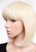 S-noilite Classy Bob Full Wigs Neat Fringe Style Bleach Blonde Heat Resistant Hair Wig Elegant Lady Dress