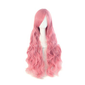 Long Wavy Wigs Hairpiece Bang Curly Full Wig Extensions Cosplay Party Prop Pink