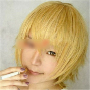 Unisex Cosplay Party Short Wig New Fashion Hairpiece Tousy Bang Wig Gold