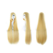 100cm Sweet Girl Cosplay Long Straight Wig Hairpiece Tilted Frisette Gold