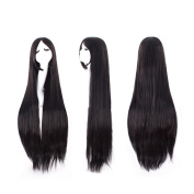 100cm Sweet Girl Cosplay Long Straight Wig Hairpiece Tilted Frisette Black
