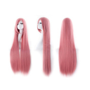 100cm Sweet Girl Cosplay Long Straight Wig Hairpiece Tilted Frisette Pink