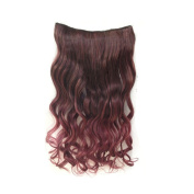 Girl's Wave Curly Clip Hair Piece Colourful Gradient Ombre Hairpieces Extensions Black-Wine Red