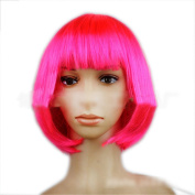 Girl's Fashion Bob Style Short Straight Fluffy Hair Neat Bangs Wig Hot Pink