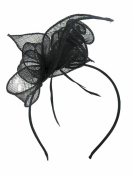 Sinamay Coil & Feather Hairband Fascinator