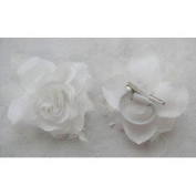 Large white Glitter Edge Rose Flower and Feathers Hair Elastic Band and Beak Clip Fascinator