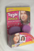 DELUXE HAIR DETANGLER TANGLE ATTACK BRUSH WITH TRAVEL CASE AND MIRROR