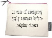 Canvas Zipped Bag in case of an emergency, apply mascara before helping others
