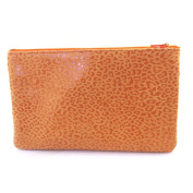 Leather makeup case 'Frandi'orange (leopard).