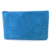 Leather makeup case 'Frandi'turquoise (leopard).
