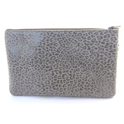 Leather makeup case 'Frandi'graphite grey (leopard).