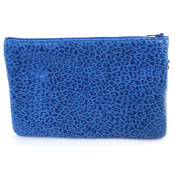 Leather makeup case 'Frandi'capri blue (leopard).