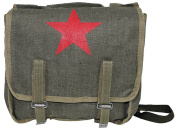 Army Military Messenger Shoulder Canvas Bag With Red Soviet USSR Star Print