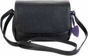 Mala Anishka Small Black Soft Leather Flap Shoulder 3 Section Handbag Bag 764-75