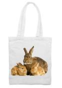 Mother Rabbit Cotton Shoulder Shopping Bag