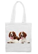 Welsh Springer Spaniel Puppies Cotton Shoulder Shopping Bag